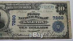 10 $ 1902 Galeton Pennsylvania Pa Banque Nationale Monnaie Note Bill Ch. # 7280 Rare