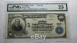 10 $ 1902 Iowa Ia Dubuque Banque Nationale Monnaie Note Bill Ch # 317 Pmg! Vf25