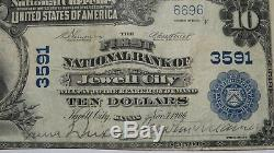 10 $ 1902 Jewell Kansas City Ks Banque Nationale Monnaie Note Bill Ch. # 3591 Vf +