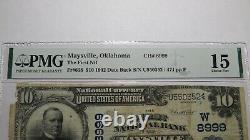 10 $ 1902 Maysville Oklahoma Ok Monnaie Nationale Banque Note Bill Ch #8999 F15 Pmg