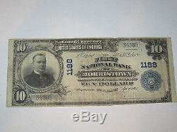 10 1902 $ Morristown New Jersey Nj Banque Nationale De Billets De Banque Bill! Ch. # 1188