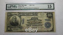 10 $ 1902 Opp Alabama Al Banque Nationale Monnaie Note Bill! Ch. # 7985 Pmg Fin 15