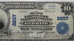 10 $ 1902 Red Bank Nj New Jersey Banque Nationale Monnaie Note Bill # Vf30 Pmg 2257