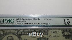10 $ 1902 St. Augustine Florida Fl Billets De Banque En Billets De Banque Nationaux Bill Ch. # 3462 Pmg