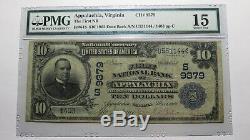$ 10 1902 Va Virginia Appalachia Banque Nationale Monnaie Note Bill Ch. # 9379 F15