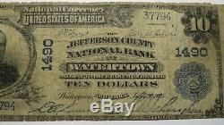 10 $ 1902 Watertown New York, Ny Banque Nationale Monnaie Note Bill Ch. # 1490 Rare