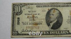 $10 1929 Albany Oregon Or National Currency Bank Note Bill! Ch. #2928 Fine Rare