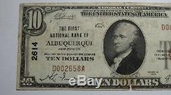 10 $ 1929 Albuquerque Nouveau-mexique Billet De Banque National En Monnaie Nationale Projet De Loi N ° 2614 Fine