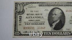 10 1929 Alexandria Pennsylvania Ap Monnaie Nationale Note De Banque Bill #1263 Xf