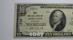 $10 1929 Appleton Wisconsin Wi National Currency Bank Note Bill Ch. #1749 Vf+