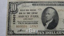 10 $ 1929 Asbury Park New Jersey Nj Banque Nationale Monnaie Note Bill Ch # 13363 Vf