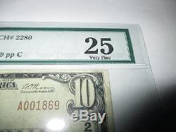 10 $ 1929 Ashland Pennsylvanie Pa Note De La Banque Nationale Bill No 2280 Vf Pmg