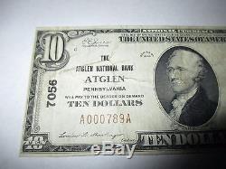 10 1929 $ Atglen Pennsylvania Pa National Monnaie Billet De Banque Bill Ch. # 7056 Fine