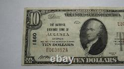 $10 1929 Augusta Georgia Ga National Currency Bank Note Bill Charter #1860 Vf