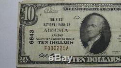 10 $ 1929 Augusta Kansas Ks Banque Nationale Monnaie Note Bill! Ch. # 6643 Vf