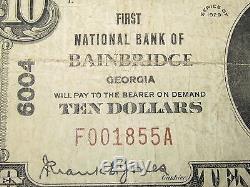 10 $ 1929 Bainbridge, Géorgie, Ga, Billet De Banque National, Billet De Banque! Ch. # 6004 Fine