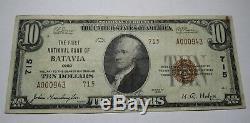 10 $ 1929 Banque Nationale Monnaie Oh Ohio Batavie Note Bill! Ch. # 715 Vf