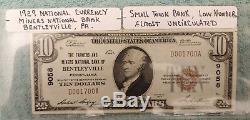 10 $ 1929 Bentleyville Pennsylvania Pa Banque Nationale Monnaie Notez Le Projet De Loi # 9058