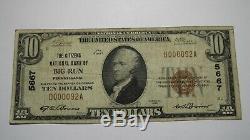 10 $ 1929 Big Run Pennsylvania Pa Banque Nationale Monnaie Note Bill Ch. # 5667 Fin