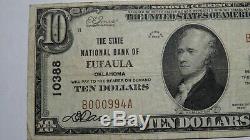 10 $ 1929 Billet De Banque D'eufaula Oklahoma Ok En Monnaie Nationale Billet De Banque N ° 10388 Vf Rare