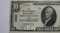 10 $ 1929 Billet De Banque De La Monnaie Nationale Ohio Oh Oh 19 Bill Ch. # 2025 Xf +