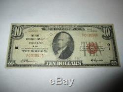 10 $ 1929 Billet De Banque De La Monnaie Nationale Toledo Ohio Oh! Ch. # 91 Fine