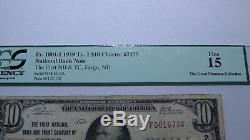 10 $ 1929 Billet De Banque En Devise Nationale De 1929 Fargo Dakota Du Nord Nd Bill Ch. # 2377 Pcgs