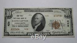 10 $ 1929 Billet De Banque National De La Devise Nationale D'easthampton Massachusetts Ma Bill No 428 Au +