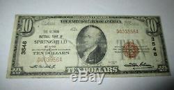 10 $ 1929 Billet De Banque National En Devise De Springfield Illinois, Il, Bill Ch. # 3548 Rare