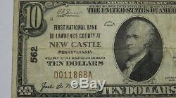 10 $ 1929 Billet De Banque National En Monnaie De New Castle, Pennsylvanie, États-unis - Projet De Loi N ° 562 - Fine