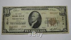 10 $ 1929 Billet De Banque National En Monnaie Du Ks Neodesha Kansas Ks Bill Ch. # 6914 Vf Rare