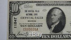 10 $ 1929 Billet De Banque National En Monnaie Nationale Du Michigan À Crystal Falls, Projet De Loi N ° 11547 Vf ++