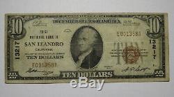 10 $ 1929 Billet De Billet De Banque En Monnaie Nationale De San Leandro, Californie, Californie! # 13217 Fin