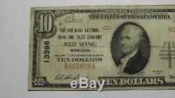 10 $ 1929 Billets De Banque En Devise Nationale Red Wing Minnesota, Mn Bill Ch. # 13396 Fin