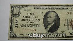 10 $ 1929 Birmingham Alabama Al Banque Nationale Monnaie Note Bill! Ch. # 3185 Fin