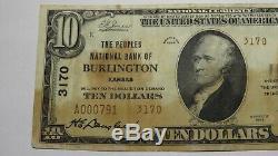 10 $ 1929 Burlington Kansas Ks Banque Nationale Monnaie Note Bill Ch. # 3170 Rare
