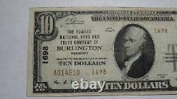 $10 1929 Burlington Vermont Vt National Currency Bank Note Bill! Ch. #1698 Vf+