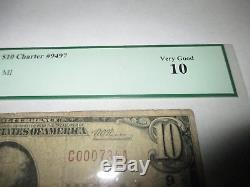 10 1929 $ Burr Oak Michigan MI Banque De Billets De Banque Nationale Note! Ch. # 9497 Pcgs