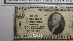 10 $ 1929 Cambridge Minnesota Mn Banque Nationale Monnaie Note Bill! Ch. # 7428 Pmg
