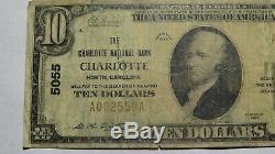 10 $ 1929 Charlotte En Caroline Du Nord Nc Banque Nationale Monnaie Note Bill! Ch. # 5055