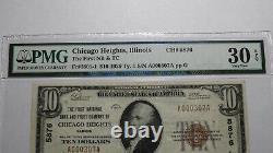 10 $ 1929 Chicago Heights Illinois IL Banque Nationale Monnaie Notez Le Projet De Loi # 5876 Vf30