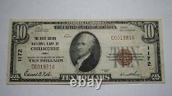 10 $ 1929 Chillicothe Ohio Oh Banque Nationale Monnaie Note Bill Ch. # 1172 Vf ++