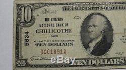 10 $ 1929 Chillicothe Ohio Oh Billet De Banque! Ch. # 5634 Fin