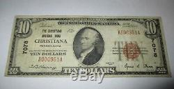 10 $ 1929 Christiana Pennsylvania Pa Banque Nationale Monnaie Note Bill! # 7078 Vf