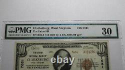 10 $ 1929 Clarksburg West Virginia Wv National Currency Bank Note Bill #7681 Vf30