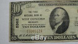10 $ 1929 Concord West Minnesota Mn Banque Nationale Monnaie Note Bill Ch # 5362 Vf