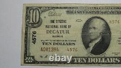 10 1929 Decatur Illinois IL Monnaie Nationale Note De Banque Bill Ch. #3303 Rare