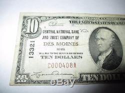 10 $ 1929 Des Moines Iowa Ia Billet De Banque De Billets De Banque! # 13321 Amende