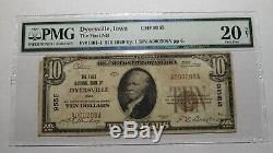 10 $ 1929 Dyersville Iowa Ia Banque Nationale Monnaie Note Bill Ch. # 9555 Vf20 Pmg