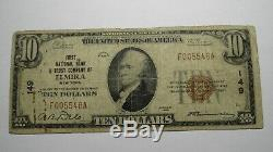 10 $ 1929 Elmira New York, Ny Banque Nationale Monnaie Note Bill! Charte # 149 Rare